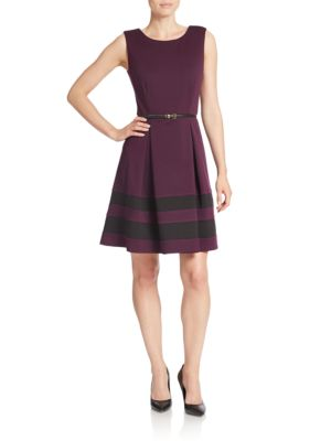Belted Stripe A-Line Dress by Calvin Klein