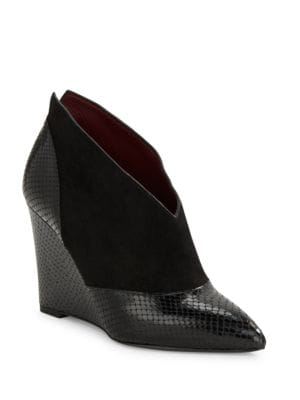 Mae Embossed Leather And Suede Wedges by Marc Jacobs