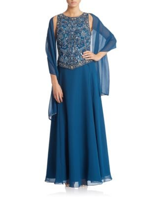 Petite Beaded Gown with Scarf by J Kara