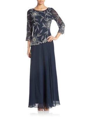 Plus Floral Lace Popover Gown by J Kara