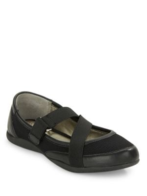 Heather Leather-Accented Flats by Me Too