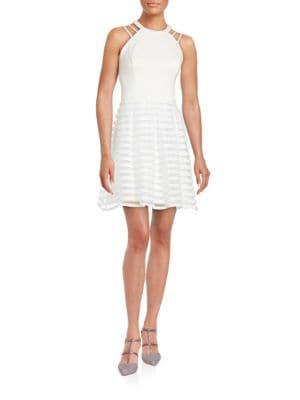 Striped Halter Fit-and-Flare Dress by Guess