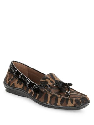 Leopard Print Calf-Hair Loafers by Donald J Pliner
