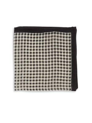Checked Pocket Square by Black Brown