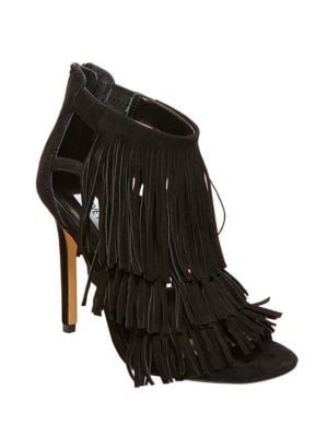 Fringly Suede High-Heel Sandals by Steve Madden