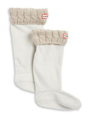 Cable-Knit Cuff Welly Socks by Hunter