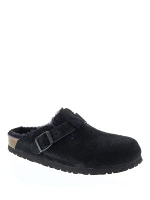 Boston Shearling and Suede Slip-On Clogs by Birkenstock