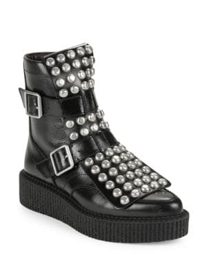 Buy Bowery Studded Leather Platform Moto Boots by Marc Jacobs online
