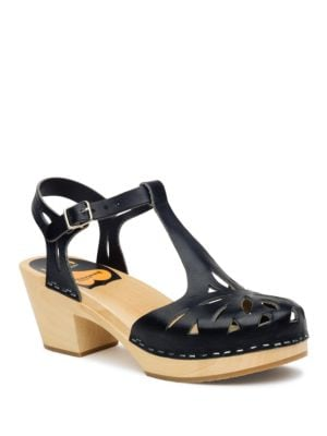Lacy Platform Leather Sandals by swedish hasbeens