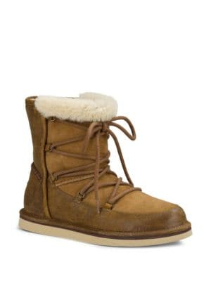Buy Lodge Sheepskin-Lined Leather & Suede Lace-Up Boots by UGG online