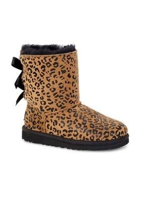 Girls Bailey Bow Leopard-Print Sheepskin Boots by UGG