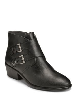 Urban Myth Buckled Faux Leather Ankle Boots by Aerosoles