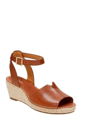Petrina Selma Full Grain Leather Wedge Espadrilles by Clarks