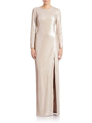 Sequined High-Slit Gown by Halston Heritage