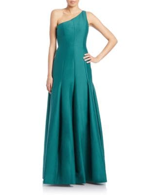 One-Shoulder Faille Gown by Halston Heritage