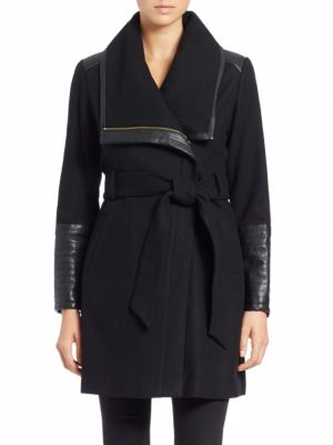Lorian Faux Leather-Trim Coat by Belle Badgley Mischka