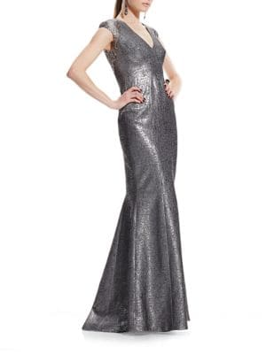 Cap-Sleeve V-Neck Gown by Theia