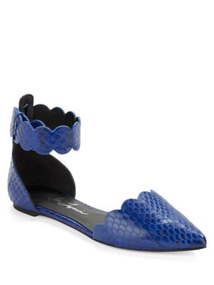 Juan Scalloped Snakeskin Flats by Isa Tapia