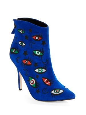 Buy Juliette Embroidered Suede Point-Toe Booties by Isa Tapia online
