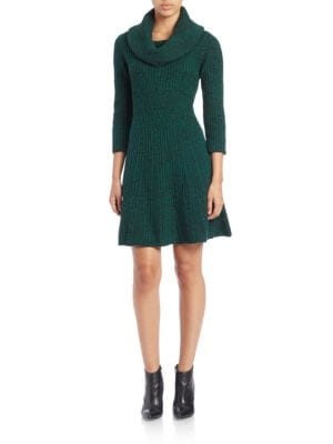 Cowl-Neck Fit-and-Flare Sweater Dress by Eliza J