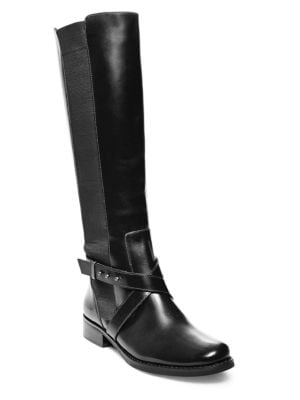 Sydnee- Wide Calf Leather Boots by Steven by Steve Madden