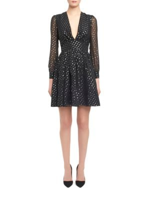 Deep V-Neck Dotted Dress by Jill Jill Stuart