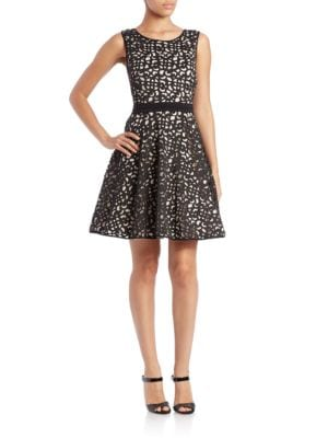 Plus Laser-Cut Fit-and-Flare Dress by Xscape