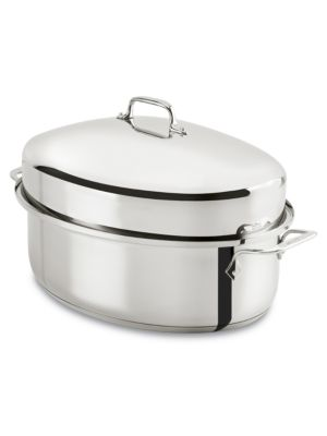 Stainless 10 Qt Covered Oval Roaster photo