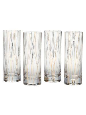 Lustre Dots FourPiece Collins Glasses Set