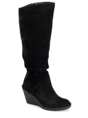 Calida Slouchy Suede Knee-High Wedge Boots by Sofft