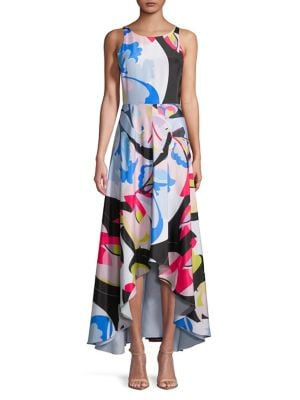 Printed Asymmetric-Hem Sleeveless Dress by Nicole Miller New York