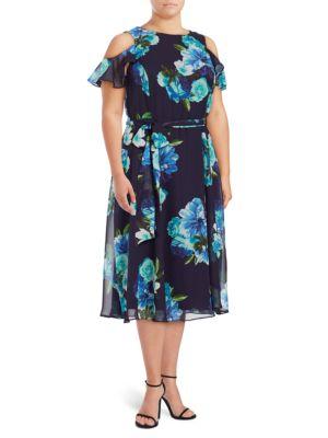 Plus Floral-Print Cold-Shoulder Dress by Eliza J