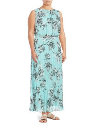 Plus Jewelneck Floral-Print Gown by Eliza J