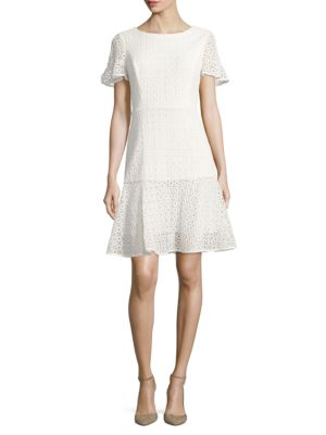 Eyelet Fit and Flare Dress by Nue By Shani