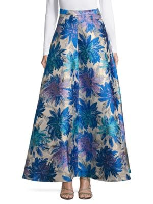 Floral-Print Flared Skirt by Belle Badgley Mischka