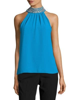 Embellished Crepe Halter Top by Belle Badgley Mischka
