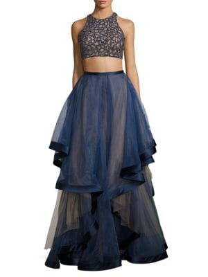 Two-Piece Beaded Top and Ruffled Gown by Glamour by Terani Couture