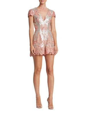 Sabrina Lace and Sequin Romper by Dress The Population