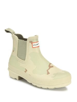 Original Desert Camo-Print Chelsea Rubber Rain Booties by Hunter
