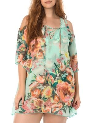 High Tea Floral Cold-Shoulder Tunic by Becca Etc