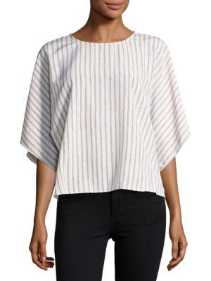 Striped Khaki Blouse by H Halston