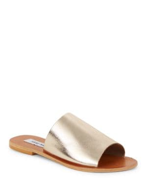 Leather Flat Sandals by Steve Madden