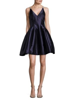 Nimbia V-Neck A-Line Dress by Belle Badgley Mischka