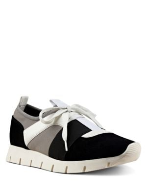 Well Done Colorblocked Seude and Leather-Trimmed Sneakers by Nine West