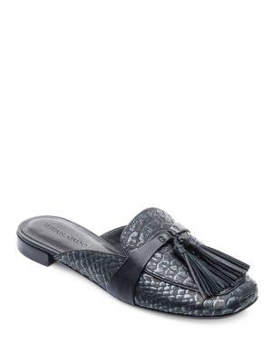 Buy Dori Snakeskin Embossed Leather Mules by Bernardo online