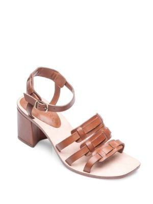 Santina Leather Woven Strap Block Heel Sandals by Bernardo