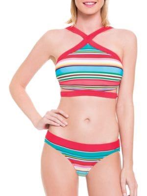 Candy Cane High NeckWrap D, E, F Bikini Top by Blush By Gottex