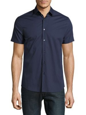 Short Sleeve Casual Button-Down...