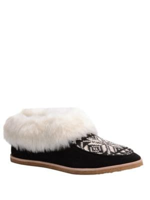Photo of Bettie Suede and Faux Fur Slippers by Splendid - shop Splendid shoes sales