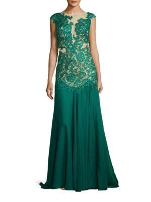 Boatneck Lace Illusion Gown by M By Mac Duggal